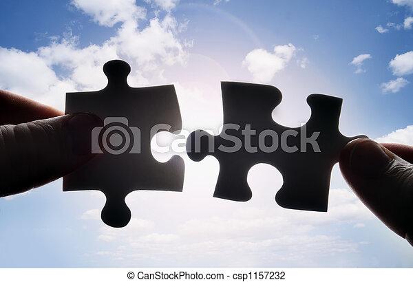 passen, raadsel, twee, samen, stukken, handen, het proberen - csp1157232