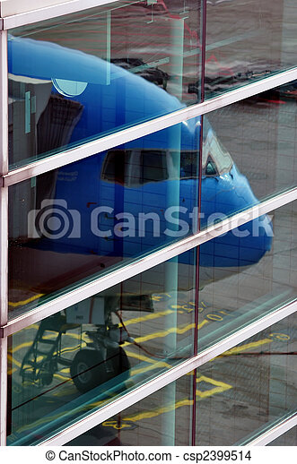 Passenger airplane nose reflection - csp2399514