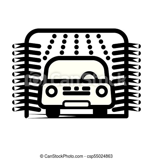 Passenger Car At Automatic Car Wash Station Vector Clipart Csp55024863