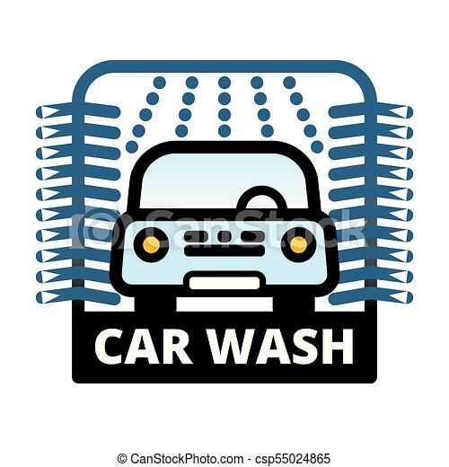 blue passenger car at automatic car wash station linear clip art rh canstockphoto com car wash clip art free car wash clip art free images
