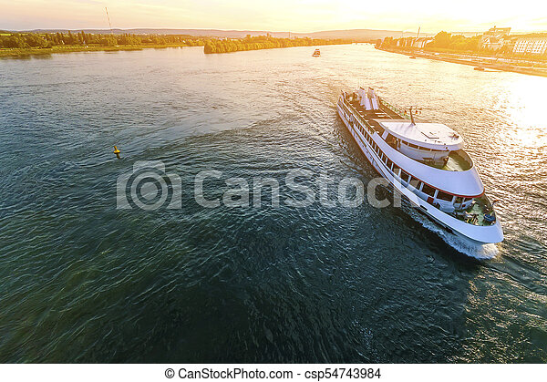 Passenger cruise ship on the Rhine river in Mainz, Germany on a - csp54743984