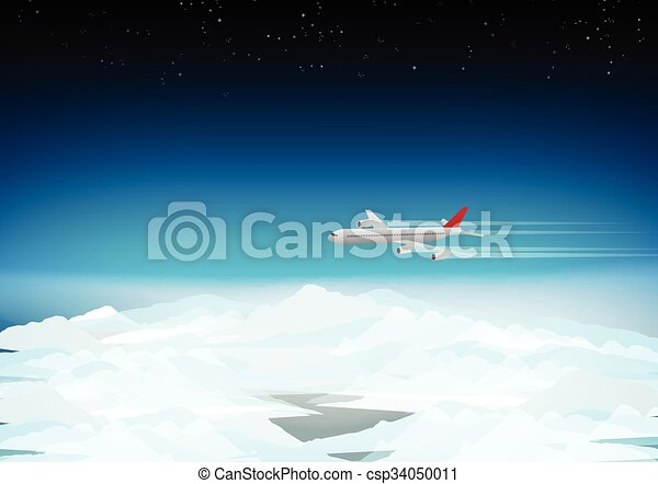 Passenger Plane Above the Clouds  - csp34050011