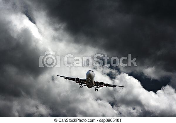 Passenger plane on final approach - csp8965481