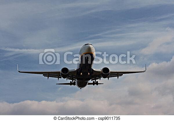 Passenger plane on final approach - csp9011735
