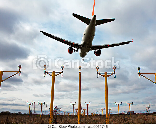 Passenger plane on final approach, with landing lights in view