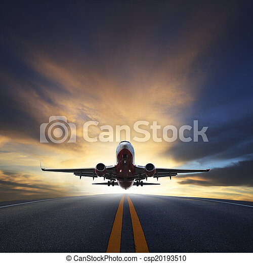 passenger plane take off from runways against beautiful dusky sky with copy space use for air transport ,journey and traveling industry business - csp20193510