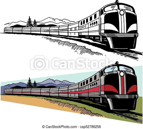 Passenger train. A passenger train speeds along a ...  Passenger train...