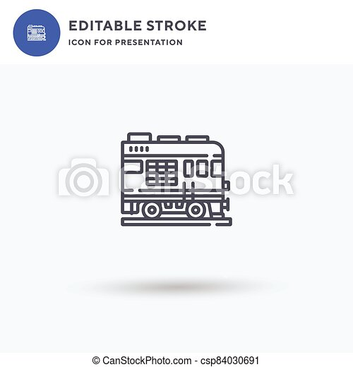 Passenger Train icon vector, filled flat sign, solid pictogram isolated on white, logo illustration. Passenger Train icon for presentation. - csp84030691