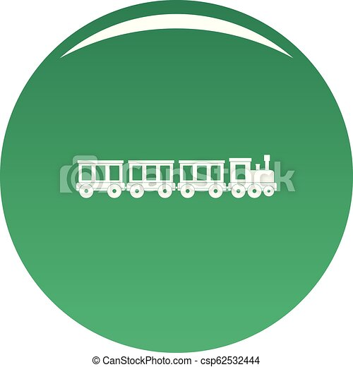 Passenger train icon vector green - csp62532444