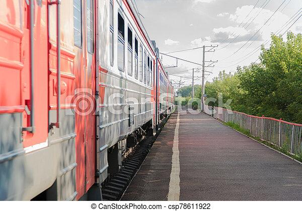 passenger train on the railway - csp78611922