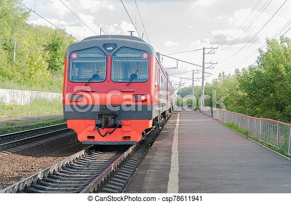 passenger train on the railway - csp78611941