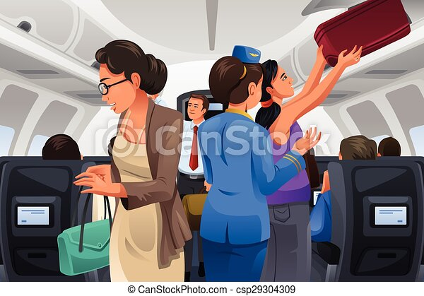 Passengers Lifting Their Carry-on Luggage  - csp29304309