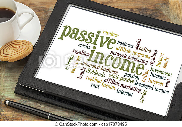 passief, inkomen, woord, wolk - csp17073495