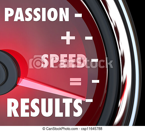 Passion Plus Speed Equals Results Words on Speedometer - csp11645788