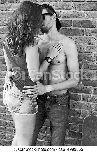 Passion Portrait Of Couple In Love Black And White