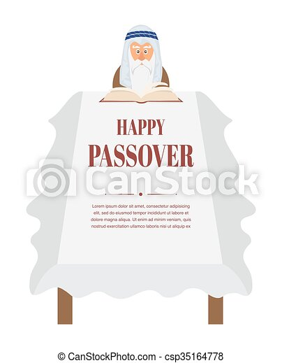 Passover dinner table. Moses reading Haggadah - csp35164778