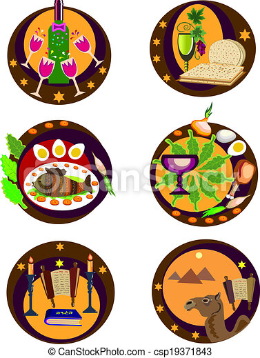 Passover Icons 6 Hassover Icons With Symbols Of Holiday