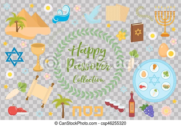 Passover icons set. flat, cartoon style. Jewish holiday of exodus Egypt. Collection with Seder plate, meal, matzah, wine, torus, pyramid. Isolated on white background Vector illustration. - csp46255320