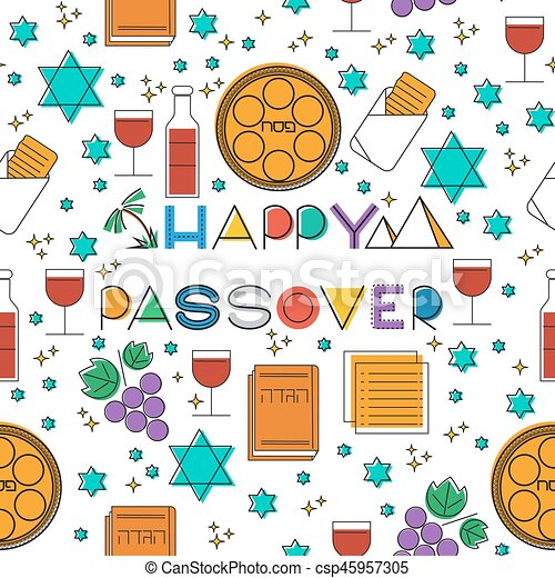 Passover seamless pattern background - csp45957305
