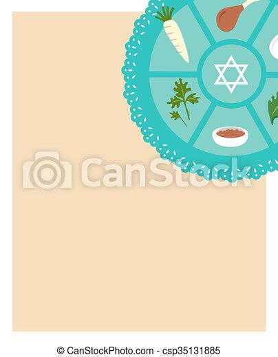Passover seder flat icons eeting card template passover seder passover seder flat icons eeting card template csp35131885 m4hsunfo