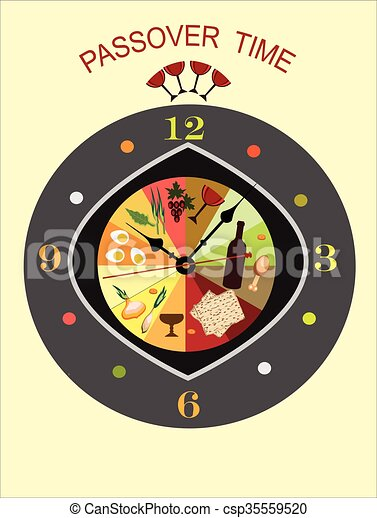 Passover Time Abstract Clock With Symbols Of Passoverdecorative
