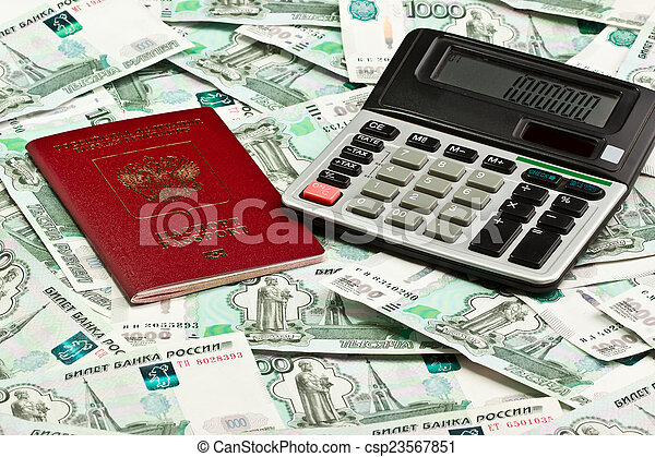 Passport and the calculator on a background of money - csp23567851