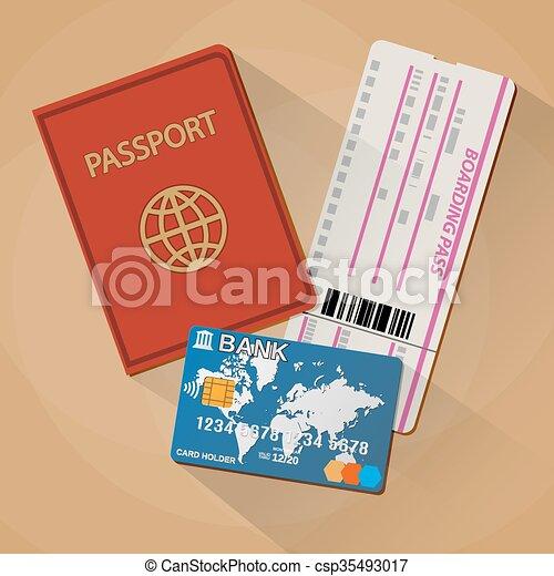 Passport boarding pass ticket bank card passport bank card passport boarding pass ticket bank card csp35493017 stopboris Image collections