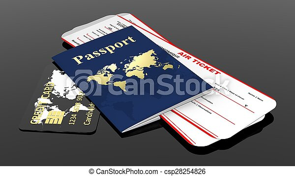Passport, credit card and two air tickets isolated on black background - csp28254826