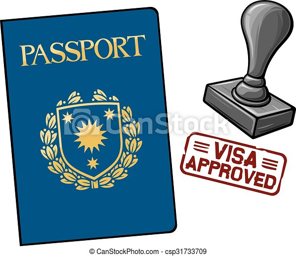passport visa approved passport and seal with stamp Vintage Travel Clip Art Travel Clip Art Illustrations