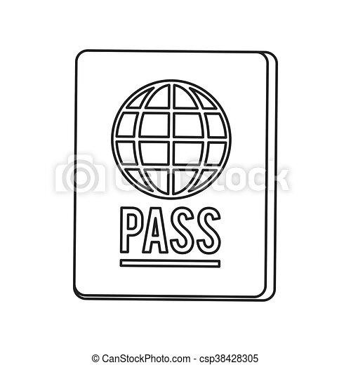 passport with earth diagram icon line design flat design passport Flow Icon passport with earth diagram icon line design csp38428305