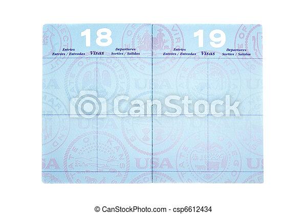 Passport with visa pages - csp6612434