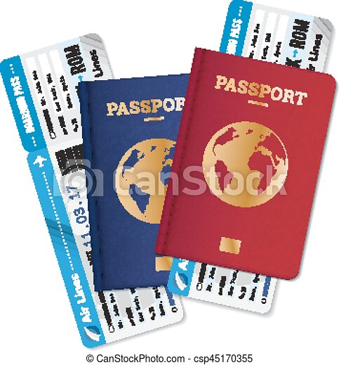 Passports Tickets Air Travel Realistic Composition