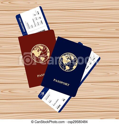 passports tickets - csp29580484