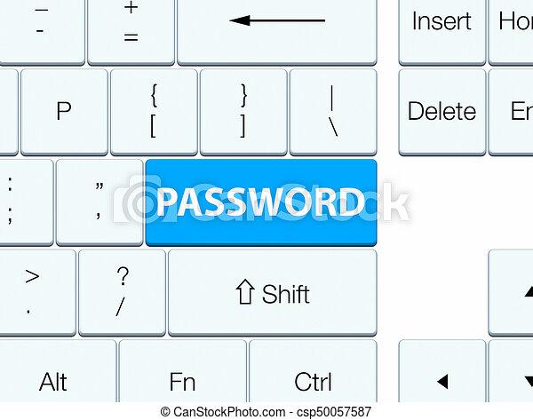 Password cyan blue keyboard button - csp50057587