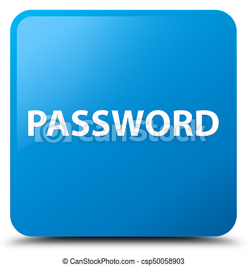 Password cyan blue square button - csp50058903