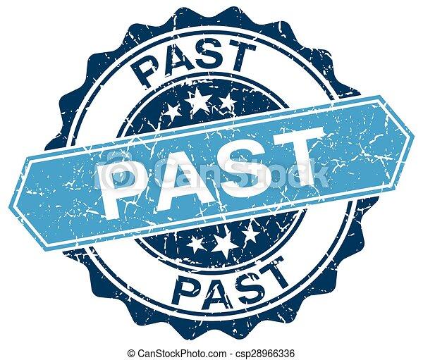 past blue round grunge stamp on white - csp28966336