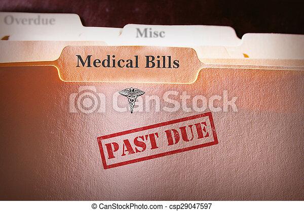 Past Due Medical Bills folder - csp29047597