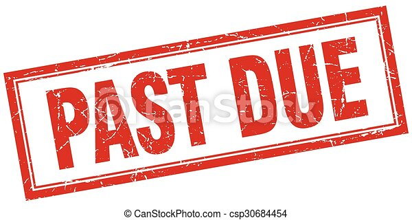 past due red square grunge stamp on white - csp30684454