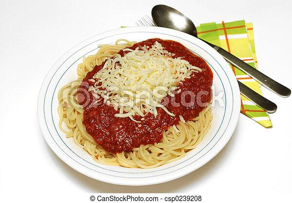 Pasta bolognaise with mozarella - csp0239208