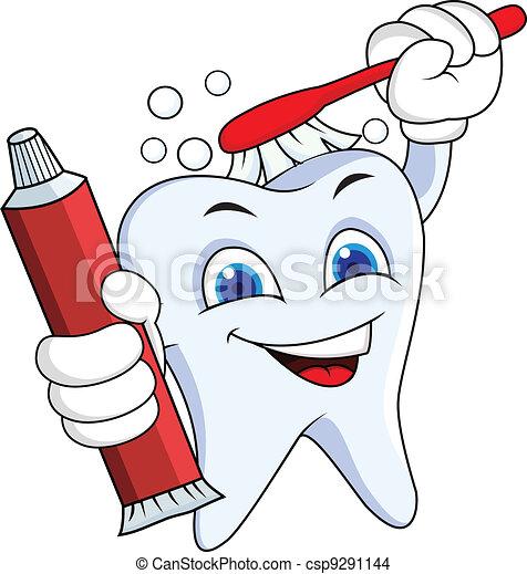 Diente con cepillo y pasta de dientes - csp9291144