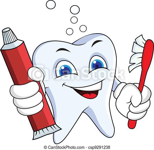 Diente con pasta de dientes y cepillo - csp9291238