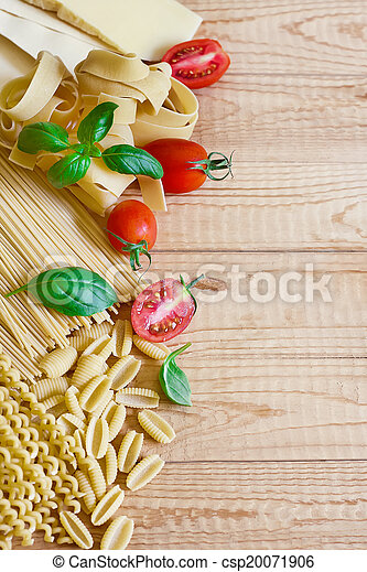 Pasta, tomato and basil bacground - csp20071906