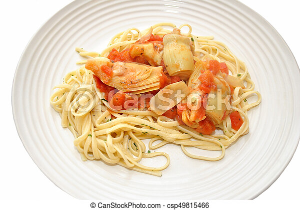 Pasta with Artichokes and Tomatoes - csp49815466