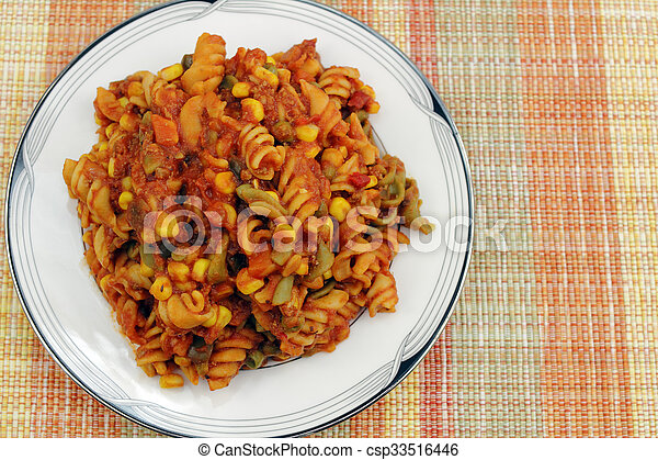 Pasta with Vegetables and Tomato Sauce - csp33516446