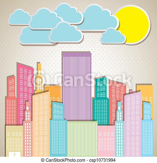 pastel, bâtiments - csp10731994