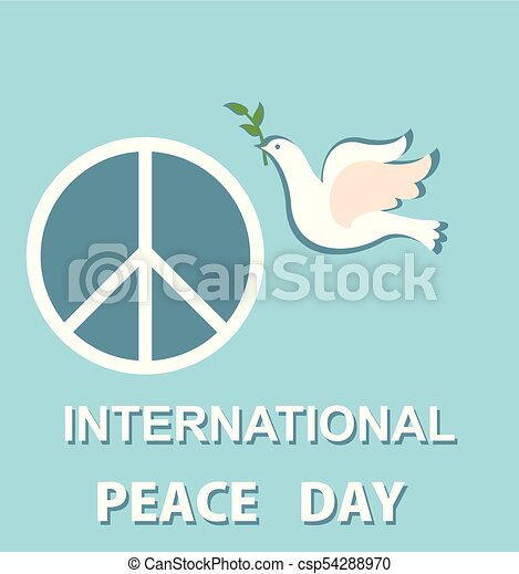 Pastel Blue Greeting Card With Paper Cut Out Dove And Peace Symbol