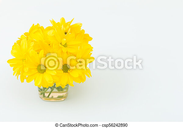 Pastel Blue Horizontal Banner With Beautiful Bouquet Of Fresh Yellow