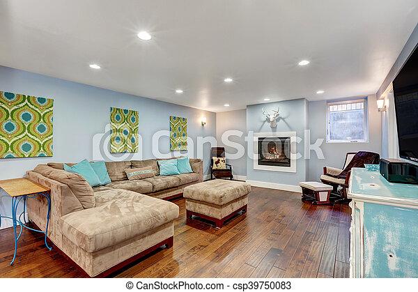 Pastel Blue Walls In Basement Living Room Interior.   Csp39750083