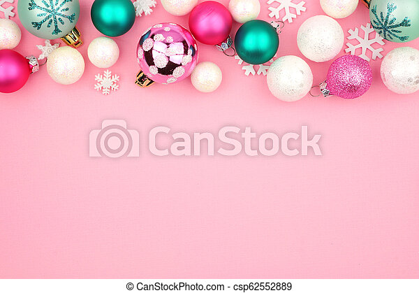 Christmas Top Border.Pastel Christmas Bauble Top Border Over A Pink Background