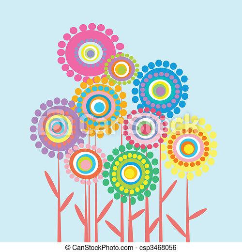 Pastel Color Flores Retro Plano De Fondo